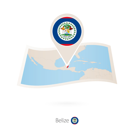 Folded paper map of Belize with flag pin of Belize. Vector Illustration