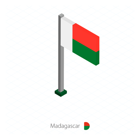 Madagascar Flag on Flagpole in Isometric dimension. Isometric blue background. Vector illustration.