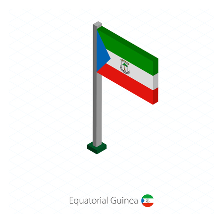 Equatorial Guinea Flag on Flagpole in Isometric dimension. Isometric blue background. Vector illustration.