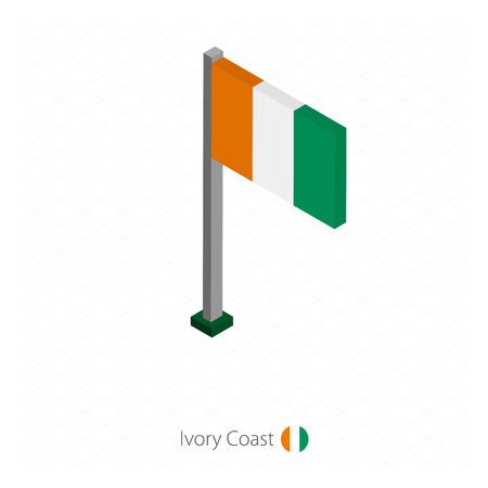 Ivory Coast Flag on Flagpole in Isometric dimension. Isometric blue background. Vector illustration.