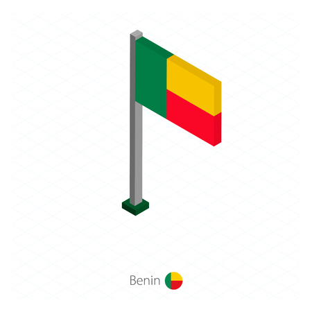 Benin Flag on Flagpole in Isometric dimension. Isometric blue background. Vector illustration.