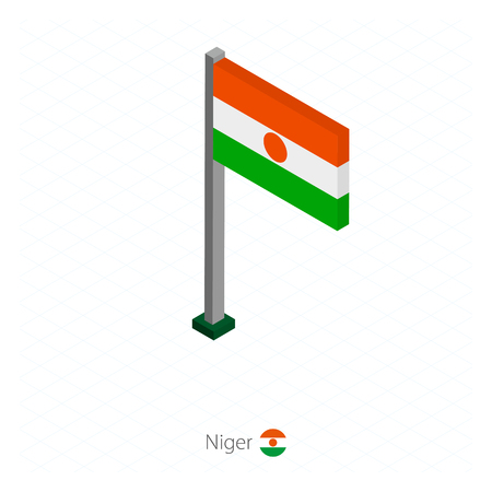 Niger Flag on Flagpole in Isometric dimension. Isometric blue background. Vector illustration.