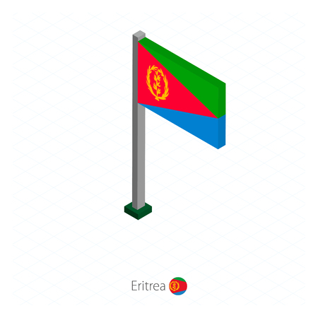 Eritrea Flag on Flagpole in Isometric dimension. Isometric blue background. Vector illustration.