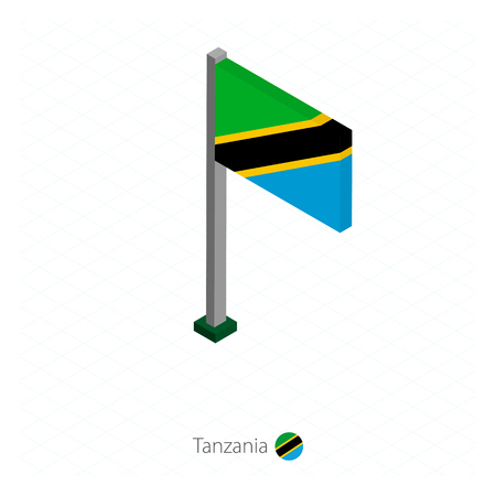 Tanzania Flag on Flagpole in Isometric dimension. Isometric blue background. Vector illustration.