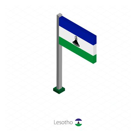 Lesotho Flag on Flagpole in Isometric dimension. Isometric blue background. Vector illustration.