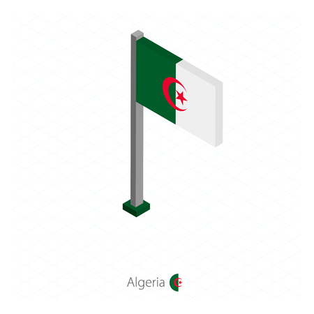 Algeria Flag on Flagpole in Isometric dimension. Isometric blue background. Vector illustration. Stock Illustratie