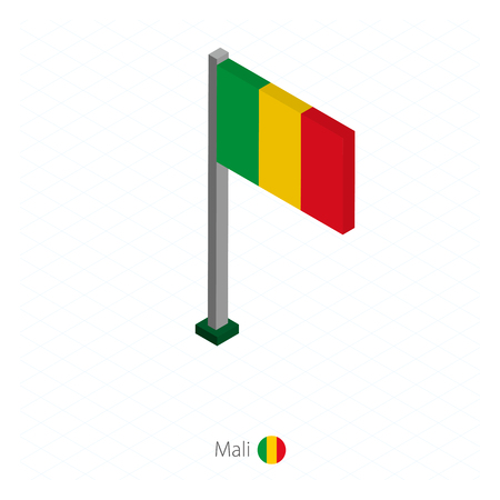 Mali Flag on Flagpole in Isometric dimension. Isometric blue background. Vector illustration. Vectores