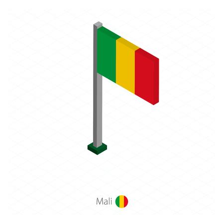 Mali Flag on Flagpole in Isometric dimension. Isometric blue background. Vector illustration. Illustration