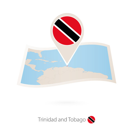Folded paper map of Trinidad and Tobago with flag pin of Trinidad and Tobago. Vector Illustration