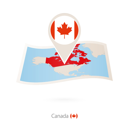 Folded paper map of Canada with flag pin of Canada. Vector Illustration 矢量图像