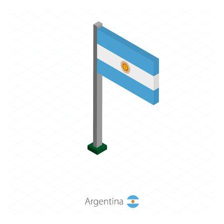 Argentina Flag on Flagpole in Isometric dimension. Isometric blue background. Vector illustration.