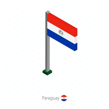 Paraguay Flag on Flagpole in Isometric dimension. Isometric blue background. Vector illustration.