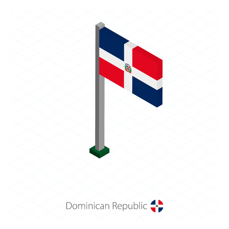 Dominican Republic Flag on Flagpole in Isometric dimension. Isometric blue background. Vector illustration.
