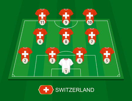 Soccer field with the Switzerland national team players. Lineups formation 4-3-3 on half football field.