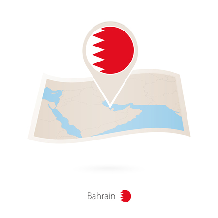 Folded paper map of Bahrain with flag pin of Bahrain. Vector Illustration