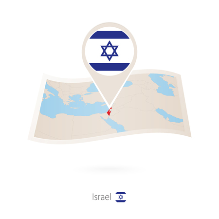 Folded paper map of Israel with flag pin of Israel. Vector Illustration Banque d'images - 101642988