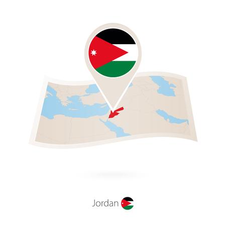Folded paper map of Jordan with flag pin of Jordan. Vector Illustration Illustration