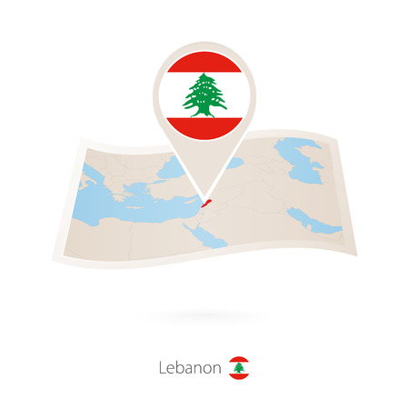 Folded paper map of Lebanon with flag pin of Lebanon. Vector Illustration Vectores