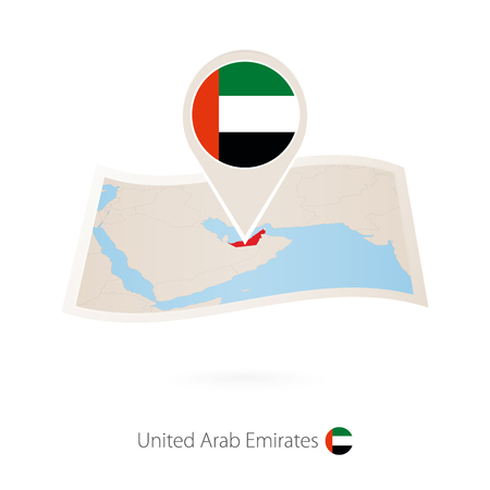 Folded paper map of United Arab Emirates with flag pin of UAE. Vector Illustration