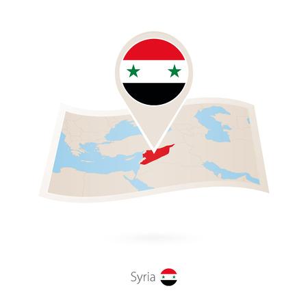 Folded paper map of Syria with flag pin of Syria. Vector Illustration Ilustração
