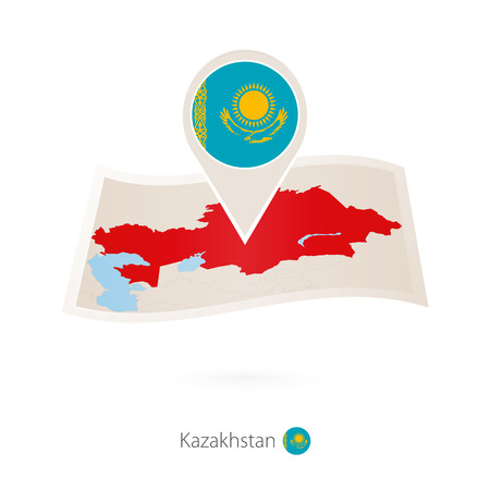 Folded paper map of Kazakhstan with flag pin of Kazakhstan. Vector Illustration Illustration