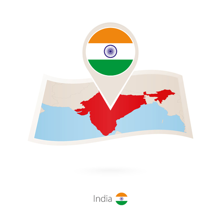 Folded paper map of India with flag pin of India. Vector Illustration
