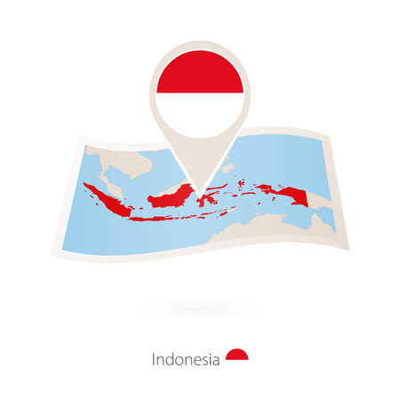 Folded paper map of Indonesia with flag pin of Indonesia. Vector Illustration Illustration