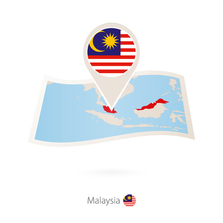 Folded paper map of Malaysia with flag pin of Malaysia. Vector Illustration  イラスト・ベクター素材
