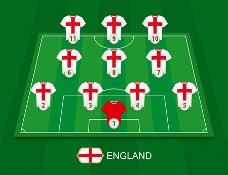 Soccer field with the England national team players. Lineups formation 4-3-3 on half football field. 矢量图像