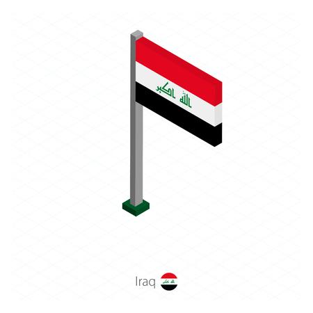 Iraq Flag on Flagpole in Isometric dimension. Isometric blue background. Vector illustration. Çizim