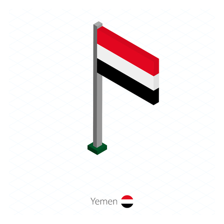 Yemen Flag on Flagpole in Isometric dimension. Isometric blue background. Vector illustration. Illustration