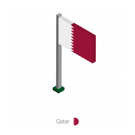 Qatar Flag on Flagpole in Isometric dimension. Isometric blue background. Vector illustration.