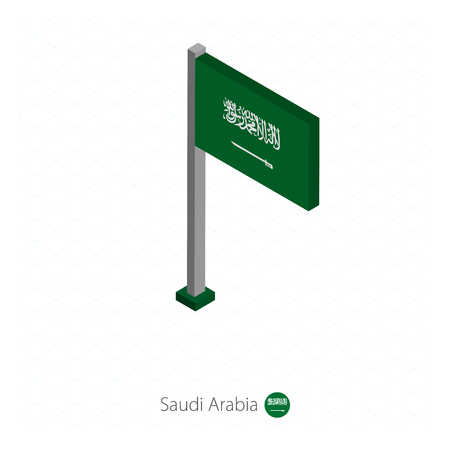 Saudi Arabia Flag on Flagpole in Isometric dimension. Isometric blue background. Vector illustration.