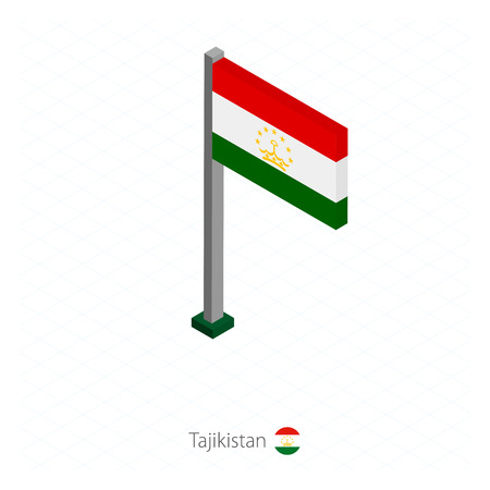 Tajikistan Flag on Flagpole in Isometric dimension. Isometric blue background. Vector illustration.
