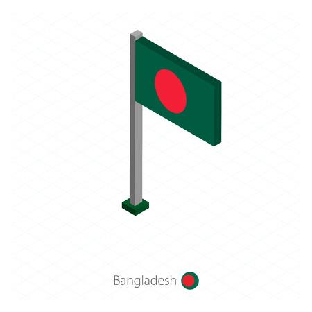Bangladesh Flag on Flagpole in Isometric dimension. Isometric blue background. Vector illustration.