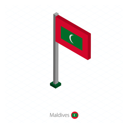 Maldives Flag on Flagpole in Isometric dimension. Isometric blue background. Vector illustration.