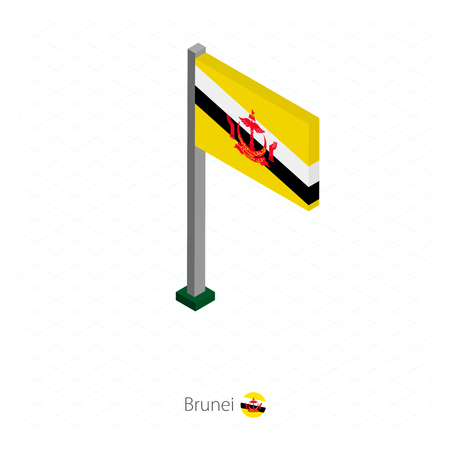 Brunei Flag on Flagpole in Isometric dimension. Isometric blue background. Vector illustration.