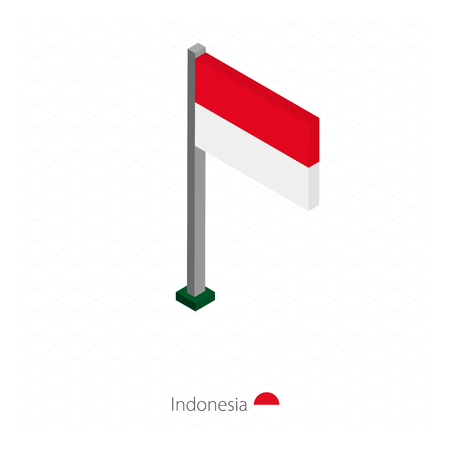 Indonesia Flag on Flagpole in Isometric dimension. Isometric blue background. Vector illustration.