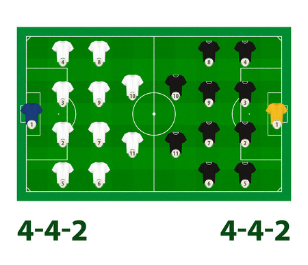 Football Lineups Player Formation 4 4 2 Vector Field Royalty Free