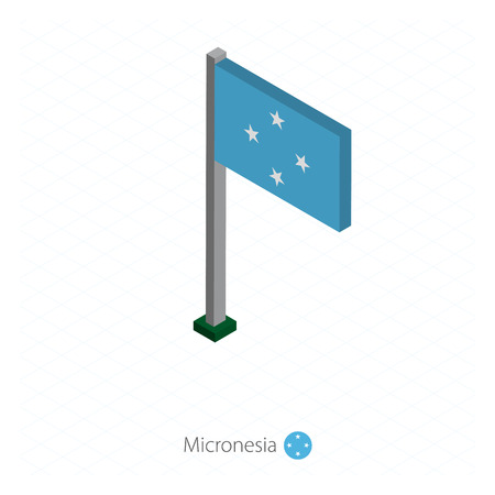 Micronesia Flag on Flagpole in Isometric dimension. Isometric blue background. Vector illustration.