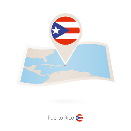 Folded paper map of Puerto Rico with flag pin of Puerto Rico. Vector Illustration