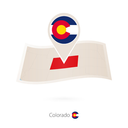 Folded paper map of Colorado U.S. State with flag pin of Colorado. Vector Illustration