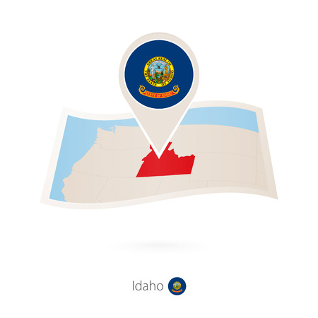 Folded paper map of Idaho U.S. State with flag pin of Idaho. Vector Illustration  イラスト・ベクター素材