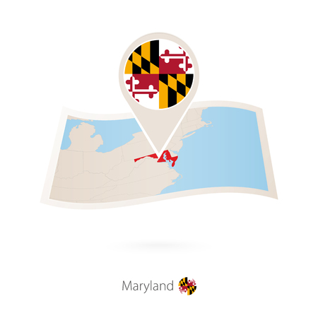 Folded paper map of Maryland U.S. State with flag pin of Maryland. Vector Illustration Foto de archivo - 102152198