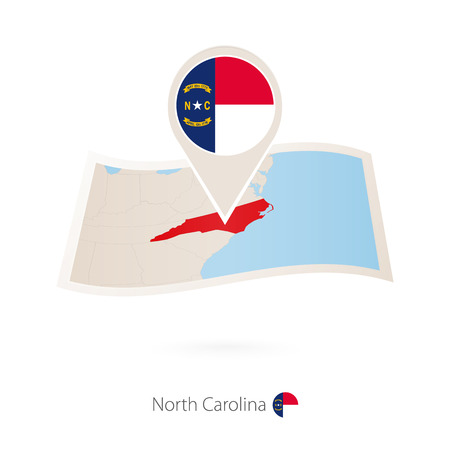 Folded paper map of North Carolina U.S. State with flag pin of North Carolina. Vector Illustration 向量圖像