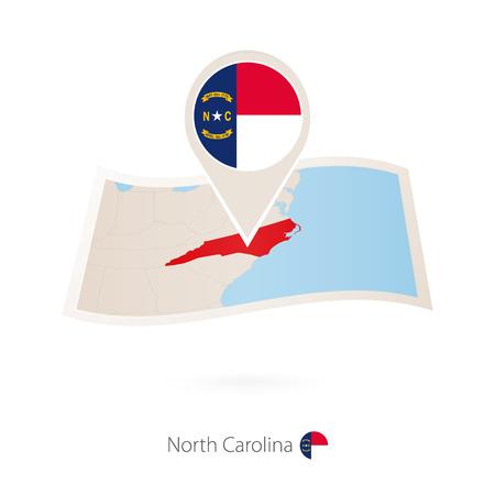 Folded paper map of North Carolina U.S. State with flag pin of North Carolina. Vector Illustration Illustration