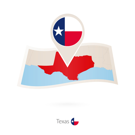 Folded paper map of Texas  U.S. State with flag pin of Texas. Vector Illustration