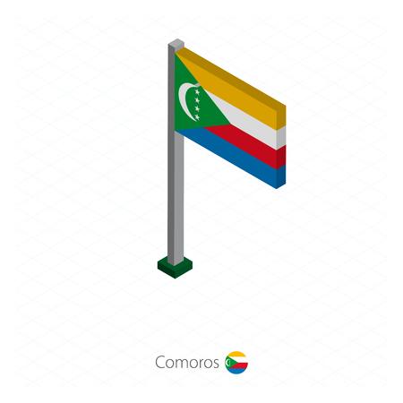 Vlag van de Comoren op vlaggenmast in isometrische dimensie. Isometrische blauwe achtergrond. Vector illustratie.
