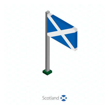 Scotland Flag on Flagpole in Isometric dimension. Isometric blue background. Vector illustration.
