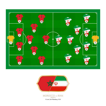 Football match Morocco versus Iran. Morocco preferred system lineup 4-5-1, Iran preferred system lineup 4-2-3-1. Stock Illustratie